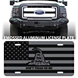 DON'T TREAD ON ME EMBOSSED BLACK LICENSE PLATE TAG GADSDEN  TEA PARTY NRA 2ND