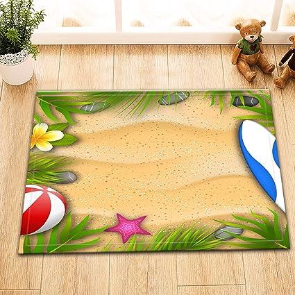 Hermoso cartel con hojas de palma, pelota de playa, flor de Frangipani, estrella de mar, tabla de surf ...