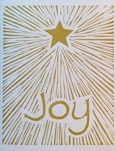 Amazon Com Joy Hand Printed Linocut Block Print Christmas Cards