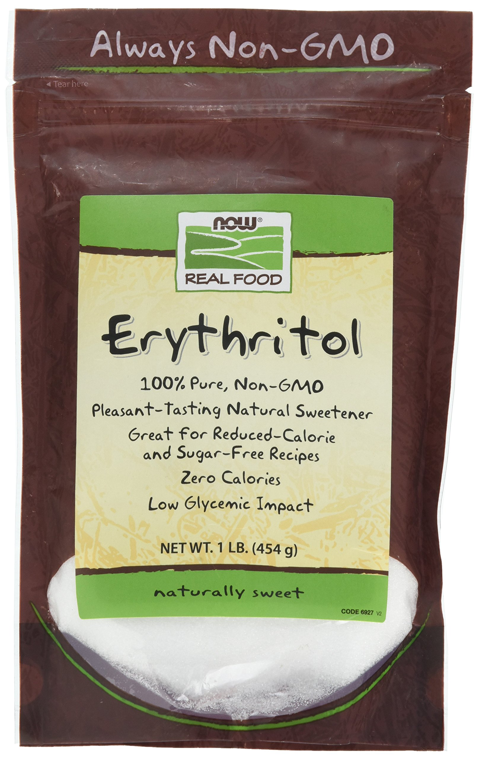 NOW Foods, Erythritol, Great-Tasting Sugar Replacement, Zero Calories, Low Glycemic Impact, Kosher, 1-Pound by NOW Foods