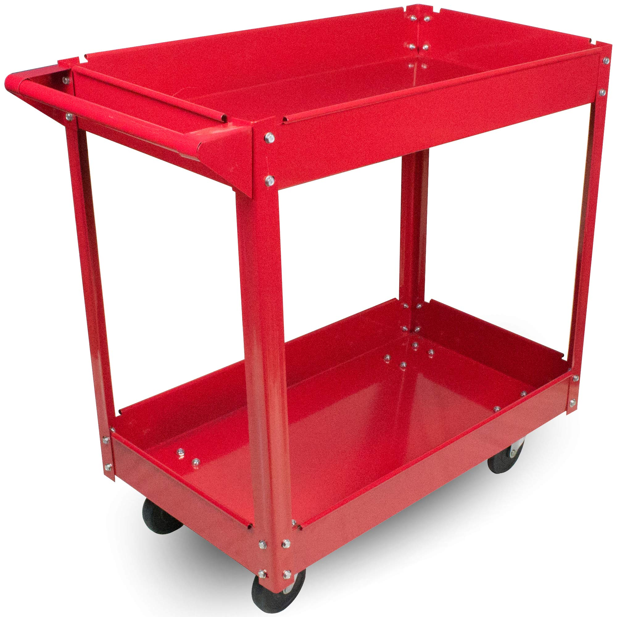 Metal Utility Cart - 33'' x 16'' x 31'' Rolling Tool Cart with Wheels for Shop or Storage or Garage - 2 Shelf Red BW1452 by BUNKERWALL (Image #1)