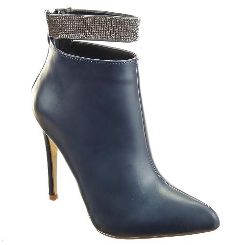 Sopily - Zapatillas de Moda Botines Stiletto Low boots Tobillo mujer strass Talón Tacón de aguja