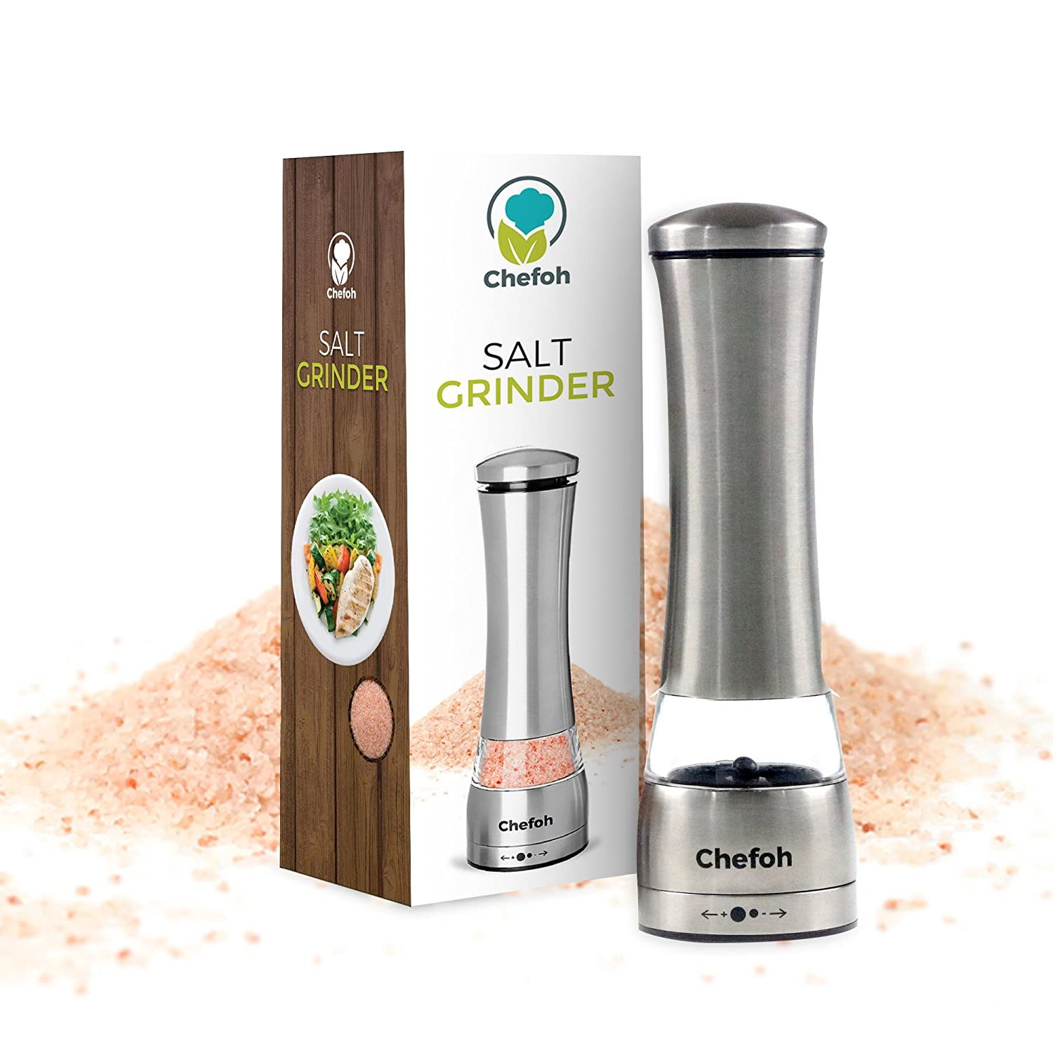 Premium Stainless Steel Salt & Pepper Grinder | Manual Salt and Pepper Mills with Ceramic Rotor | Adjustable Coarseness | Perfect for Himalayan, Sea, Kosher Salt & Peppercorns Chefoh CH-218