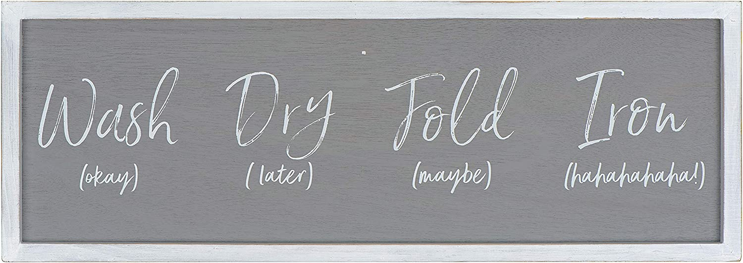 Creative Co-op Grey Wash Fold 'Maybe' Iron 'Hahaha' Wood Framed Decor Laundry Room Wall Sign, Black
