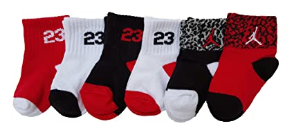 Nike Air Jordan Baby Boy's Crew Socks, 6 Pairs, Size 6-12 Months