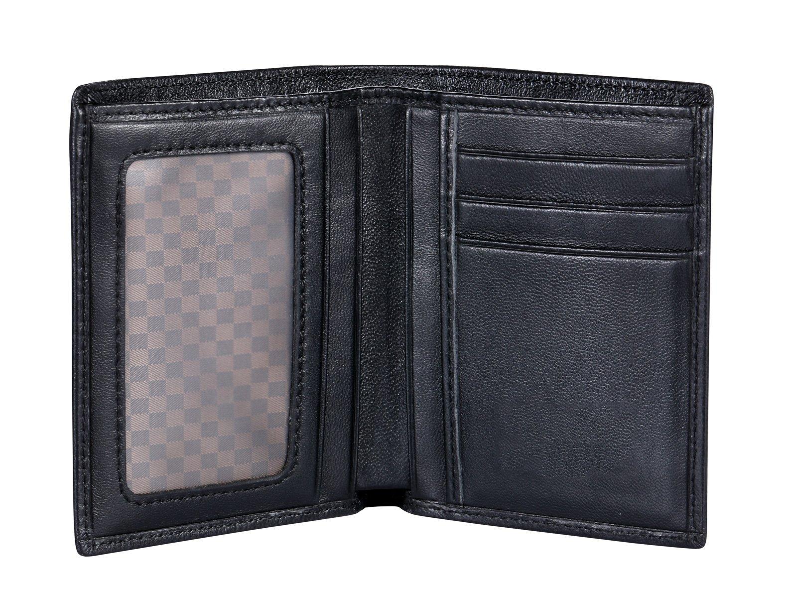 VIDENG Geunine Goatskin Leather Wallets Slim RFID Blocking Bifold Wallet Card Holder Purse (WSV-Black)