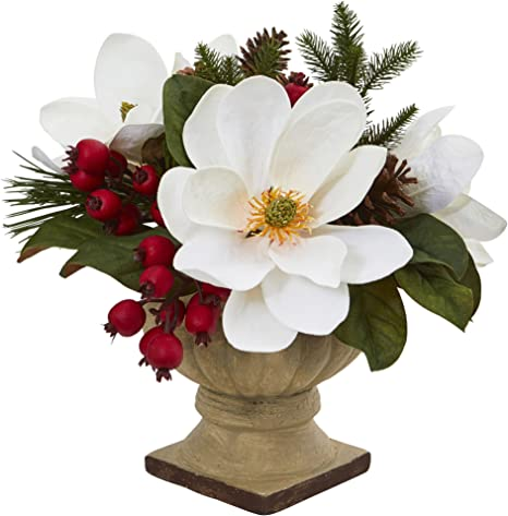 Amazon Com Nearly Natural Artificial 15 Magnolia Pine And Berries Arrangement White Home Kitchen