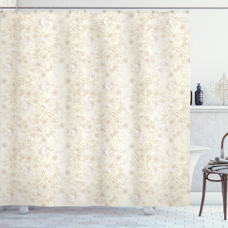 "Ambesonne Ivory Shower Curtain, Floral Arrangement Branches Botanical Garden Beauty Petal Graphic Artwork Print, Cloth Fabric Bathroom Decor Set with Hooks, 75"" Long, White Cream"