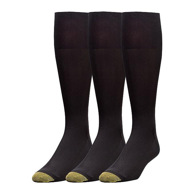 a3a41107c3573 Gold Toe Men's 3-Pack Metropolitan Over-The-Calf Dress Socks, Black