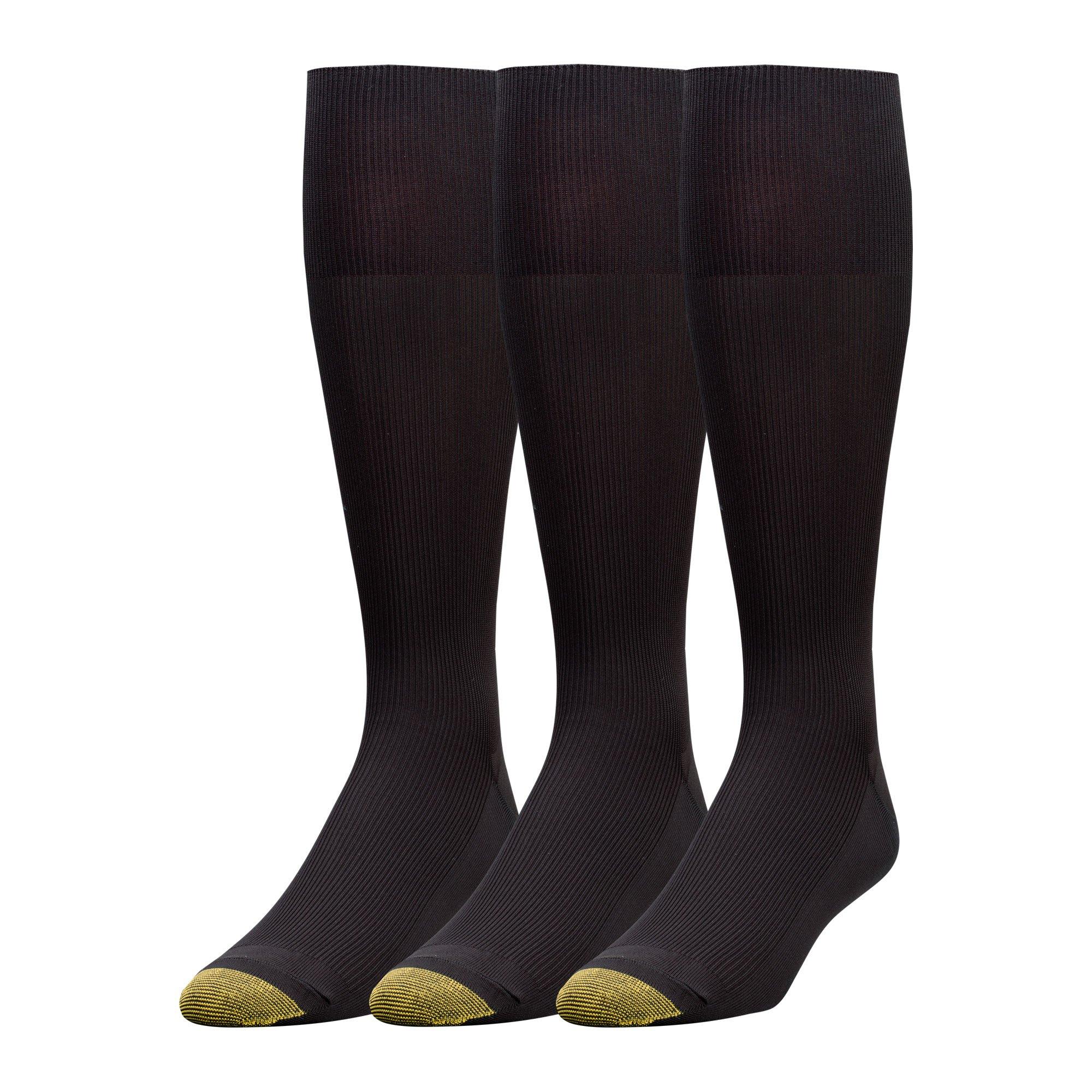 Gold Toe Men's 3-Pack Metropolitan Over-the-Calf Dress Socks, Black, 10-13 (Shoe Size 6-12.5) by Gold Toe