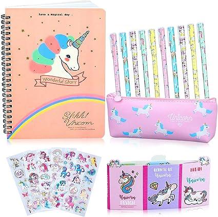25 Piezas Estuche Unicornio Set de Papelería Bolígrafos y Cuaderno Libreta de Notas, Regalos de Unicornio para Niñas Niños 6 7 8 9 10 años: Amazon.es: Oficina y papelería