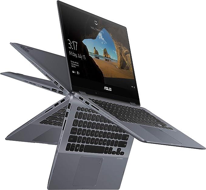 "Amazon.com: Asus Vivobook Flip 14 Thin & Light 2-in-1 Touch Laptop, 14"" FHD Intel Core i7-8565U Processor, 8GB RAM, 512GB PCIe Nvme SSD, Windows 10 Home, Fingerprint Reader, TP412FA-DB72T, Star Grey: Computers & Accessories"