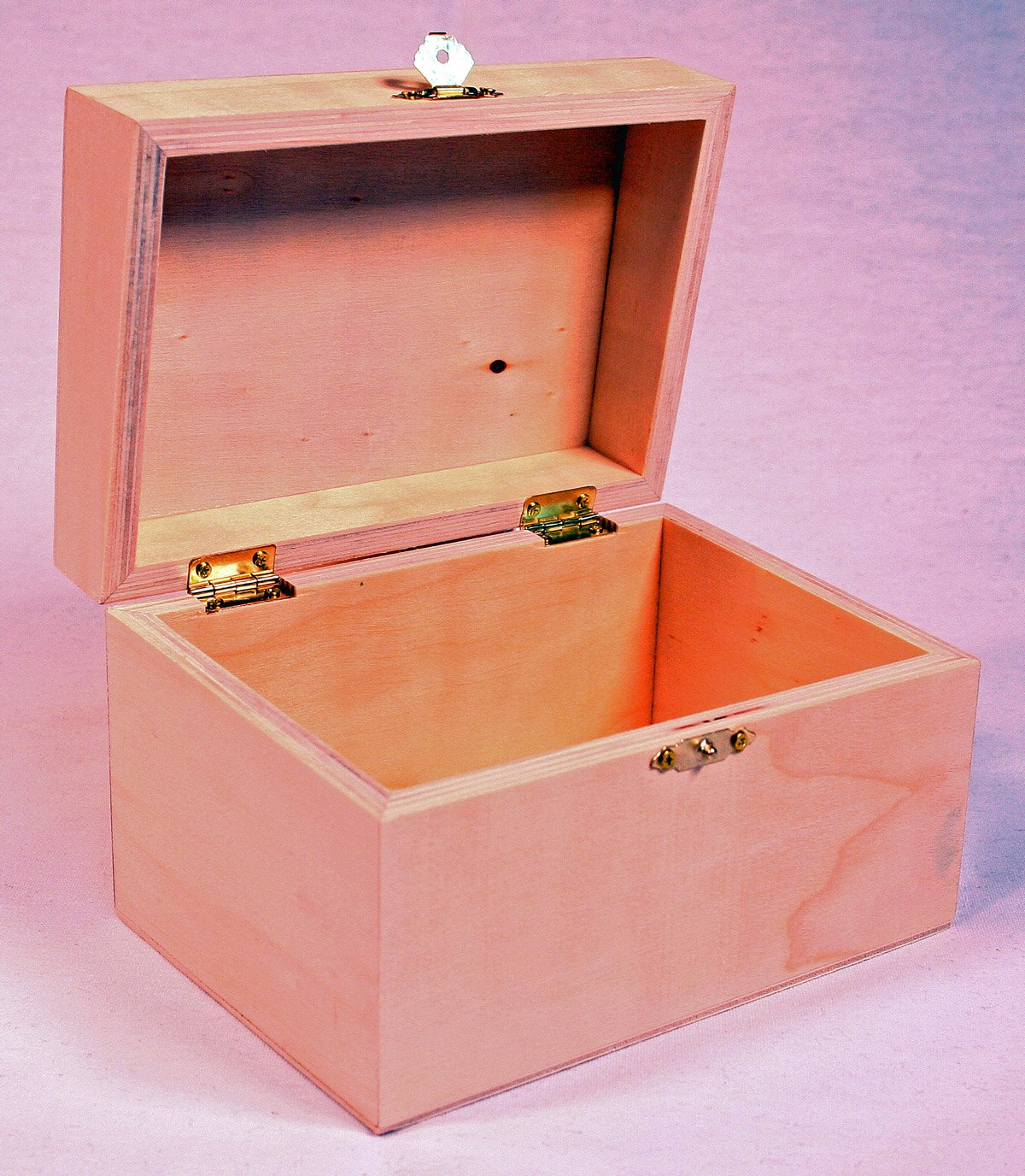 Package Of 1 Unfinished Wood Treasure Chest Boxes For