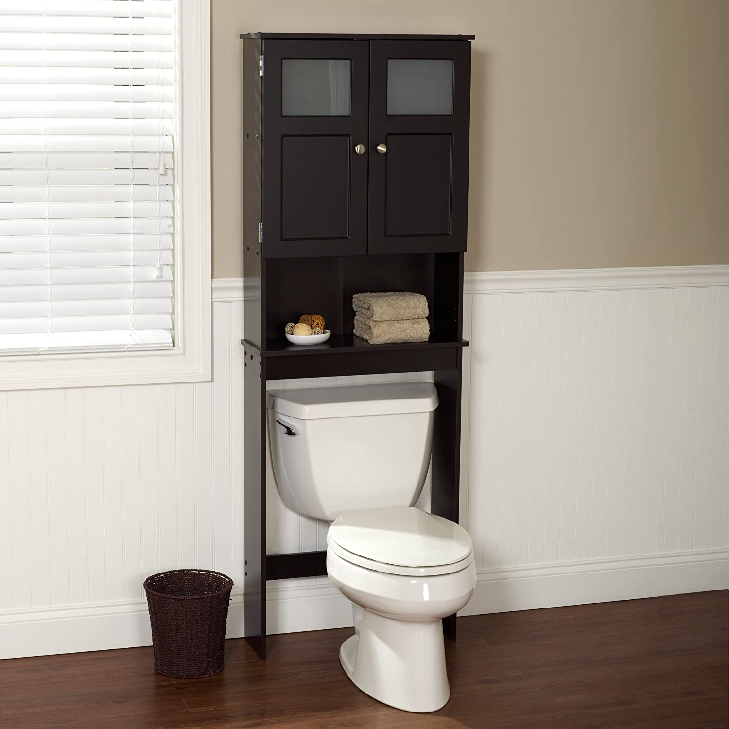 Amazon.com: Zenna Home 9820CHBB, Bathroom Spacesaver, Espresso/Frosted  Glass: Home & Kitchen