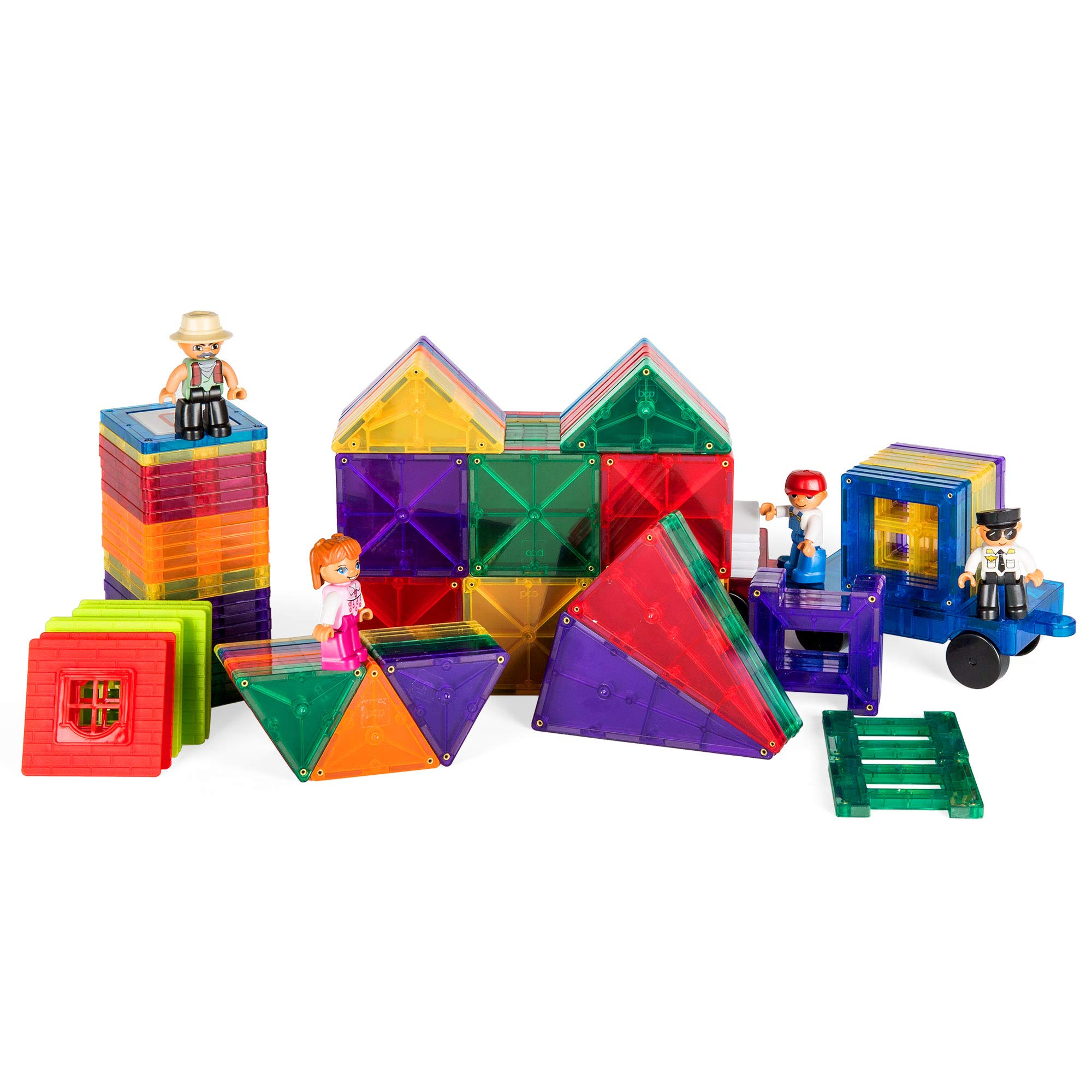 Best Choice Products 250-Piece Kids Educational STEM Rainbow Geometric 3D Magnetic Building Block Tile Toy Play Set w/ Railroad Tracks, 4 Action Figures, 4 Mini Train Carts, ABC Stickers by Best Choice Products (Image #5)