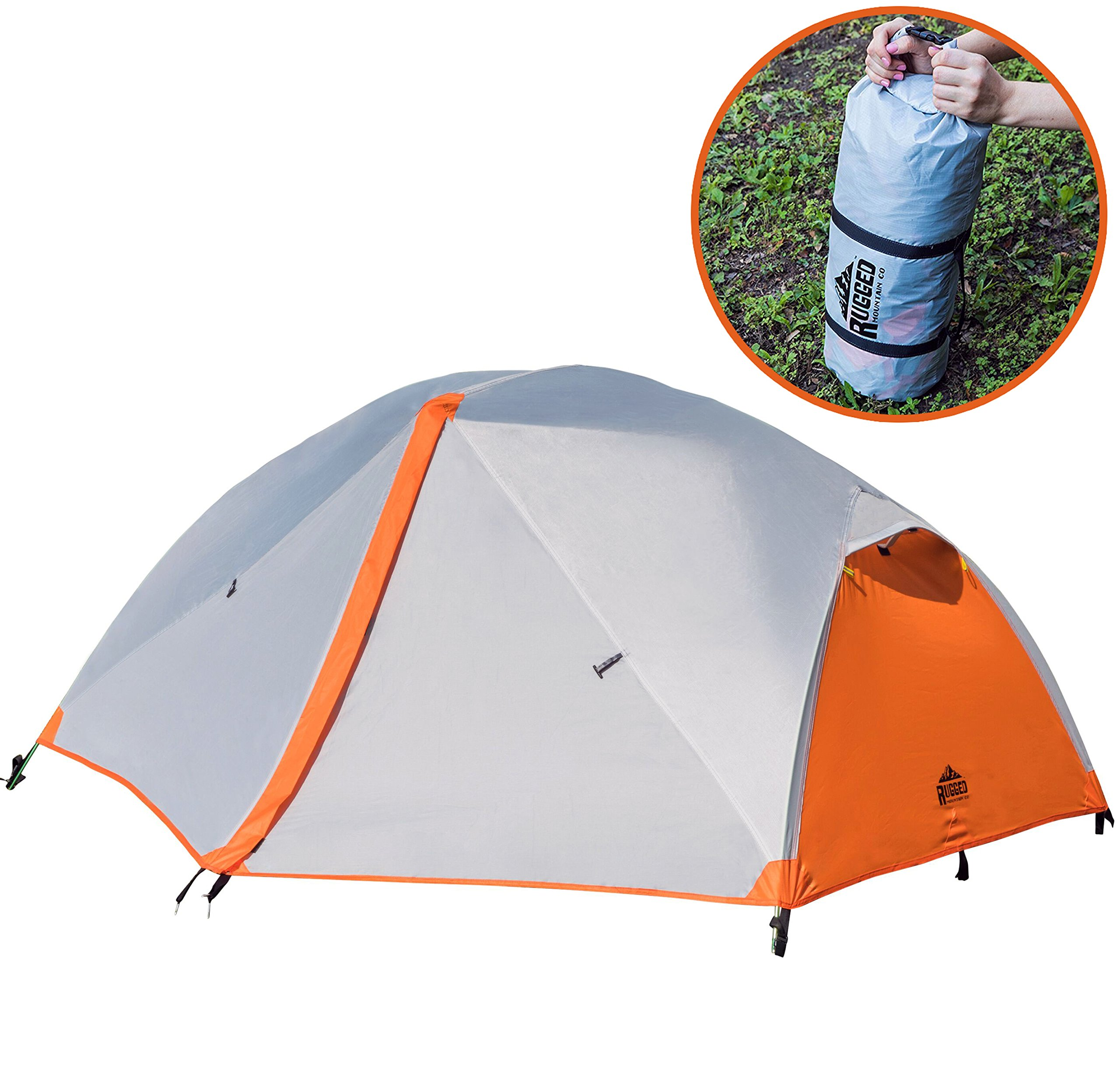 Rugged Mountain Co. 2 Person Tent for Camping - Backpacking - Hiking - Best 3 Season Outdoor Lightweight Sports Waterproof Dome Shelter - Compact Pop Up with Portable Carry Bag