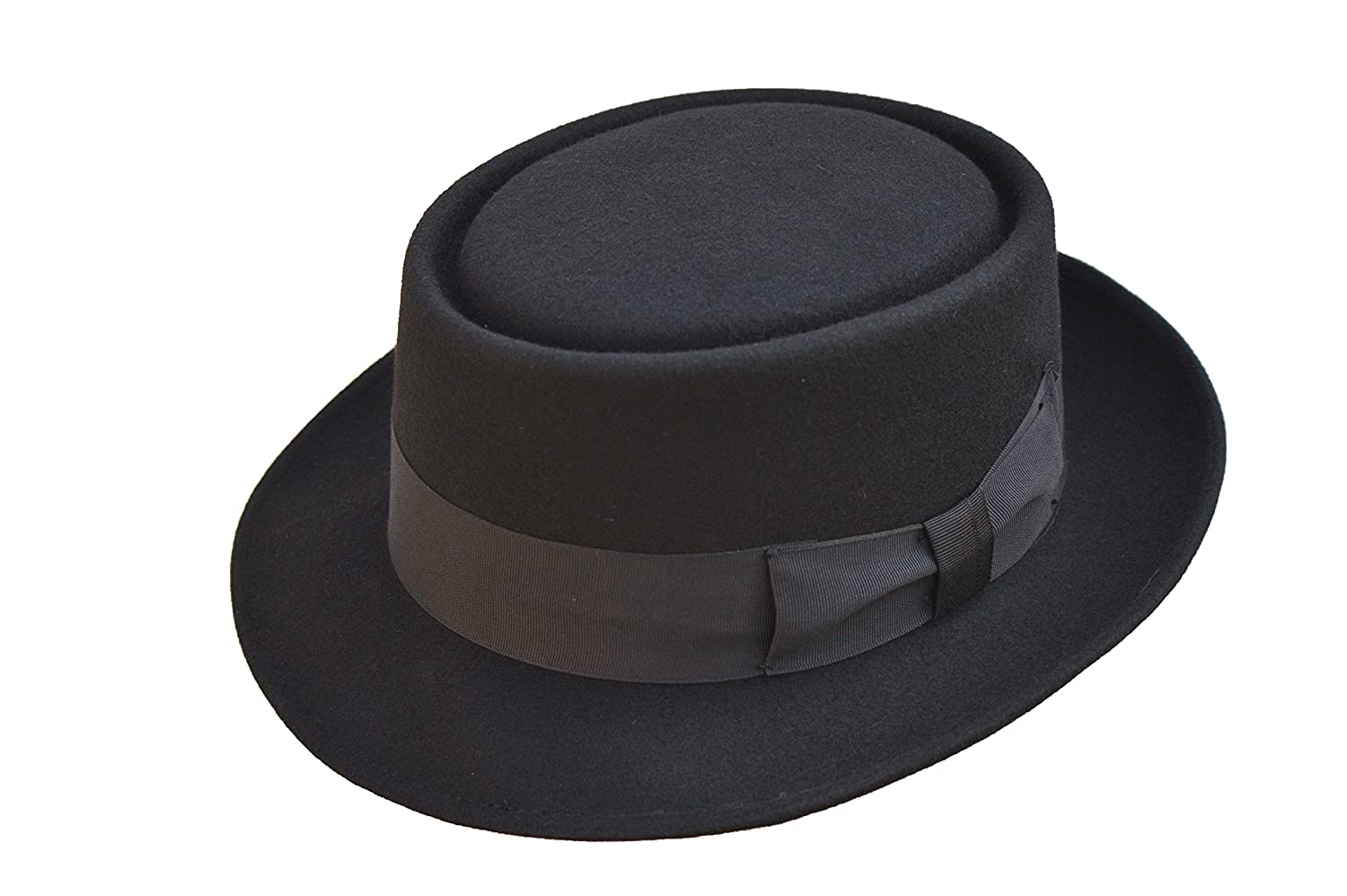 Black High Quality Hand Made 100% Wool Felt Porkpie Trilby Hat With Black Band VIZ-UK WEAR PORK PIE