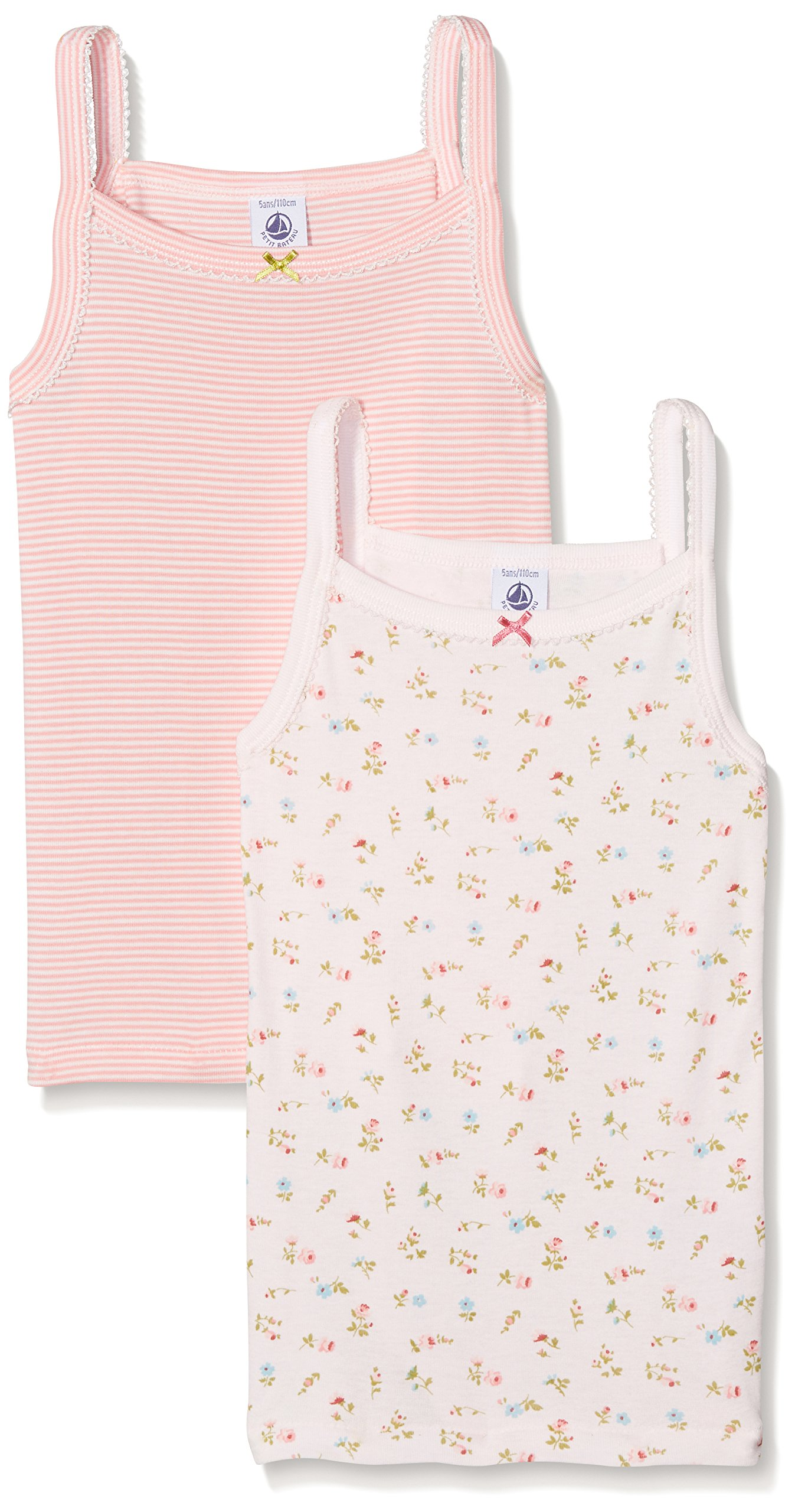 Petit Bateau Pack of 2 Girls Print and Striped Camisoles-Tops Style 25806 Sizes 2-12 (Size 12 Style 25806 Girls Tops)