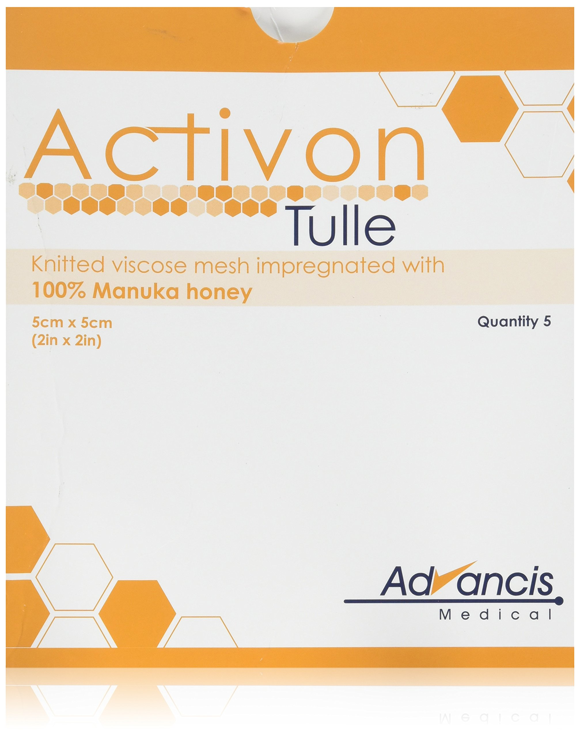 """Activon Tulle 4"""" Wound Dressing with 100% Manuka Honey (Pack of 3) 3.9 inch x 3.9 inch pad"""