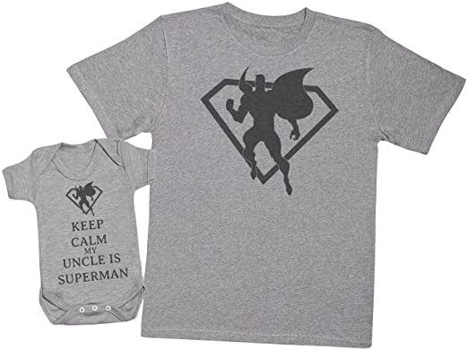45ea5806c7010 Amazon.com: Keep Calm My Uncle is Superman - Matching Father Baby ...