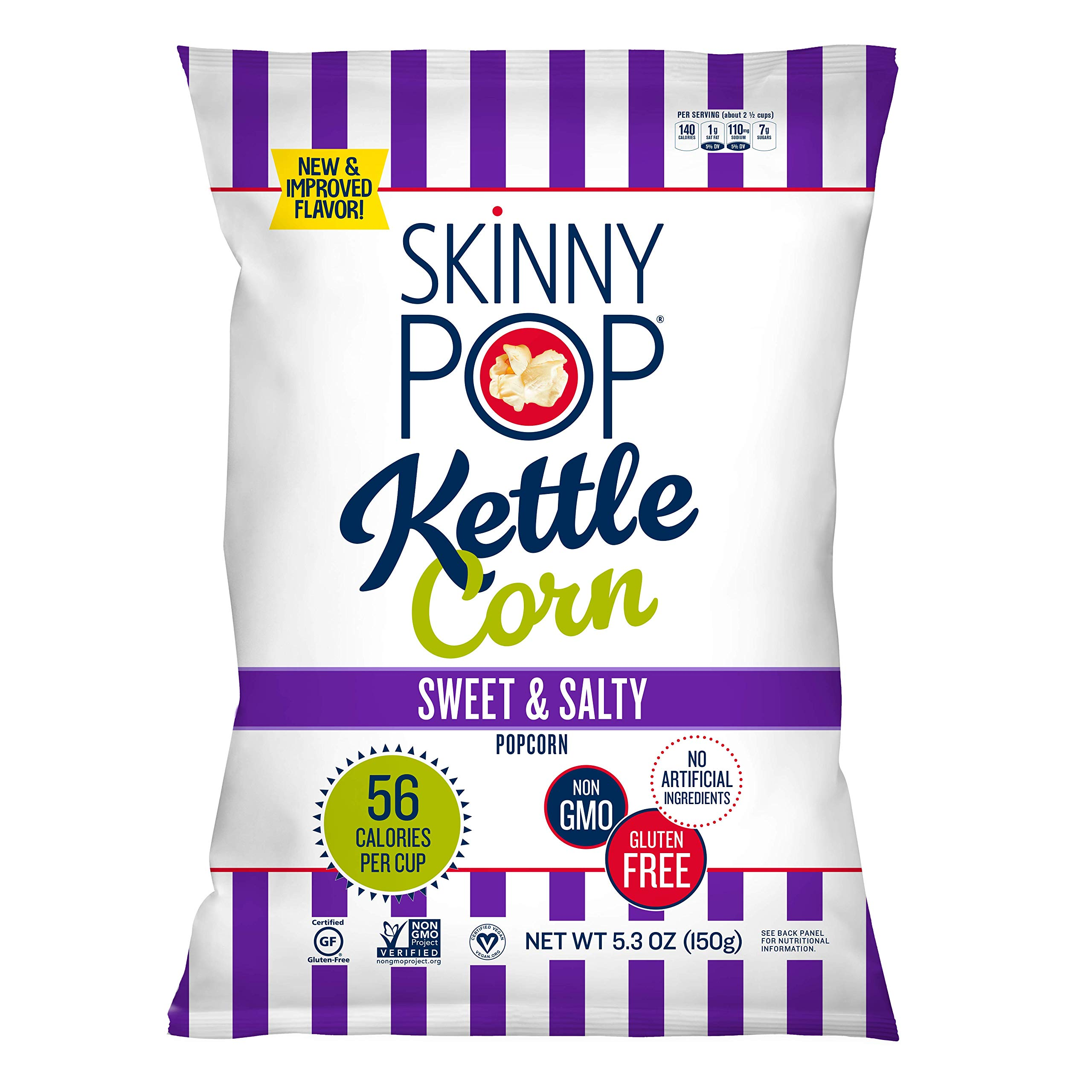 SkinnyPop Popped Sweet & Salty Kettle Popcorn, Vegan, Gluten-free, Non-GMO, Healthy Snacks, 5.3oz Grocery Sized Bags (Pack of 12)