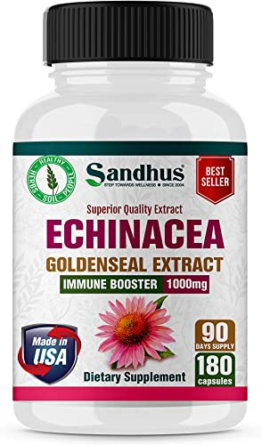 Echinacea Root Goldenseal Immune System Support Immune Booster and Respiratory Health 1000 mg per Serving Vegetarian Capsules 180 Ct,