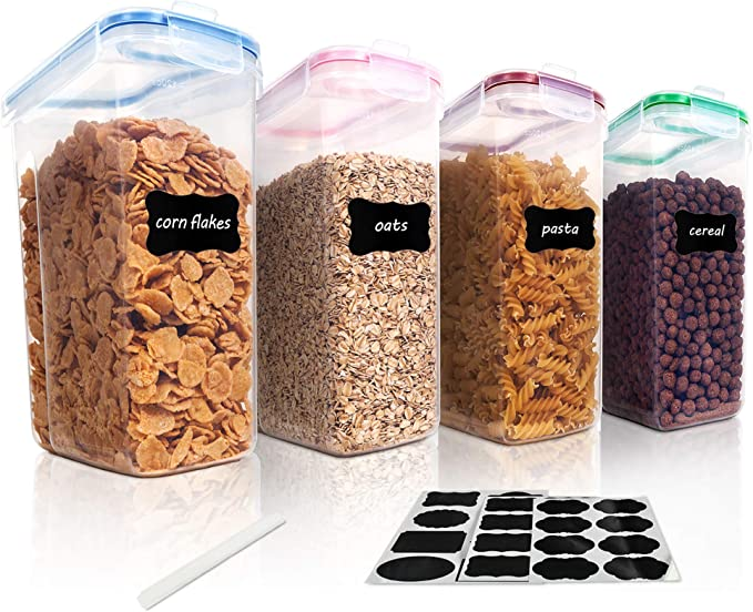 Amazon.com: Vtopmart Cereal Storage Container Set, BPA Free Plastic Airtight Food Storage Containers 135.2 fl oz for Cereal, Snacks and Sugar, 4 Piece Set Cereal Dispensers with 24 Chalkboard Labels: Kitchen & Dining
