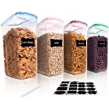 Vtopmart Cereal Storage Container Set, BPA Free Plastic Airtight Food Storage Containers 135.2 fl oz for Cereal, Snacks…