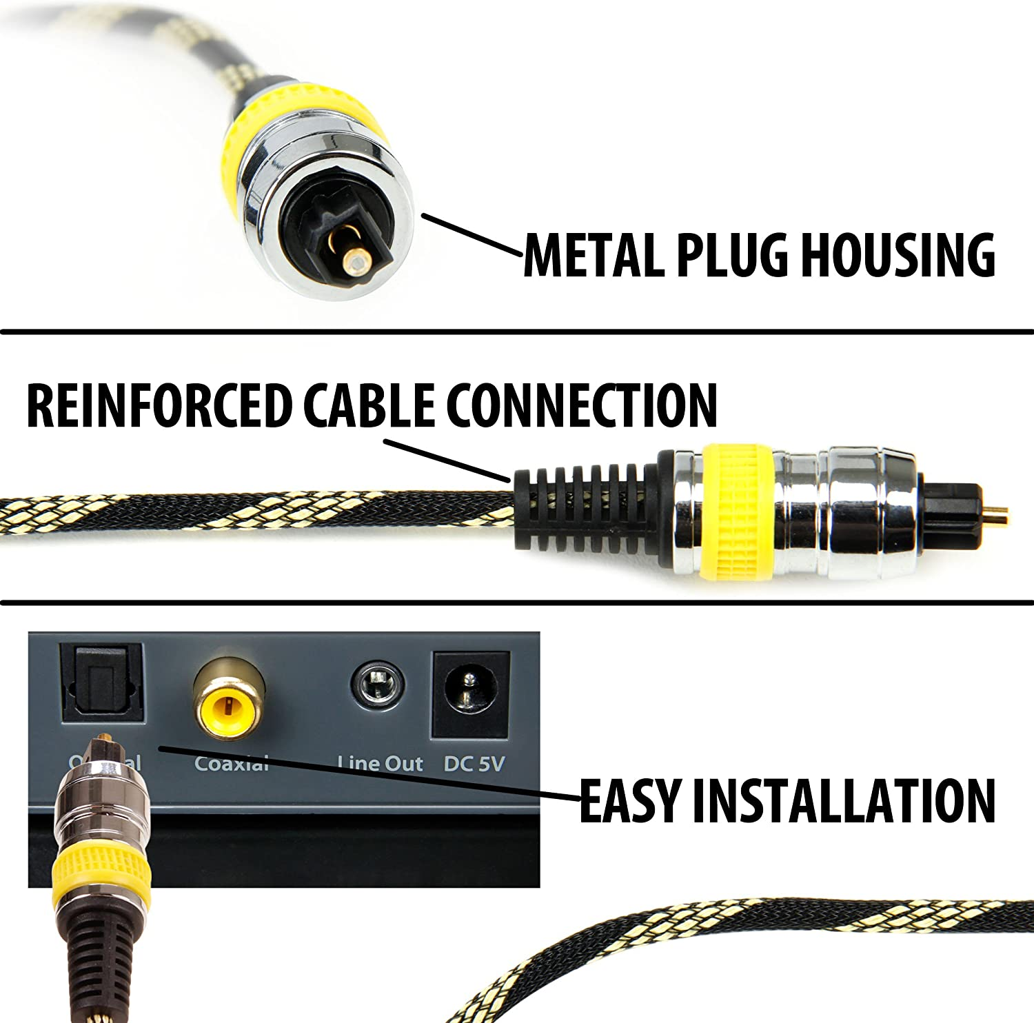 DATASTREAM Digital Audio Optical TOSLink Cable w// High Fidelity Audio Transfer /& Nylon Braided Cable Sound Bars /& A//V Receivers VIZIO E50-C1 /& More TVS Works with: Sony KDL50W800B 6