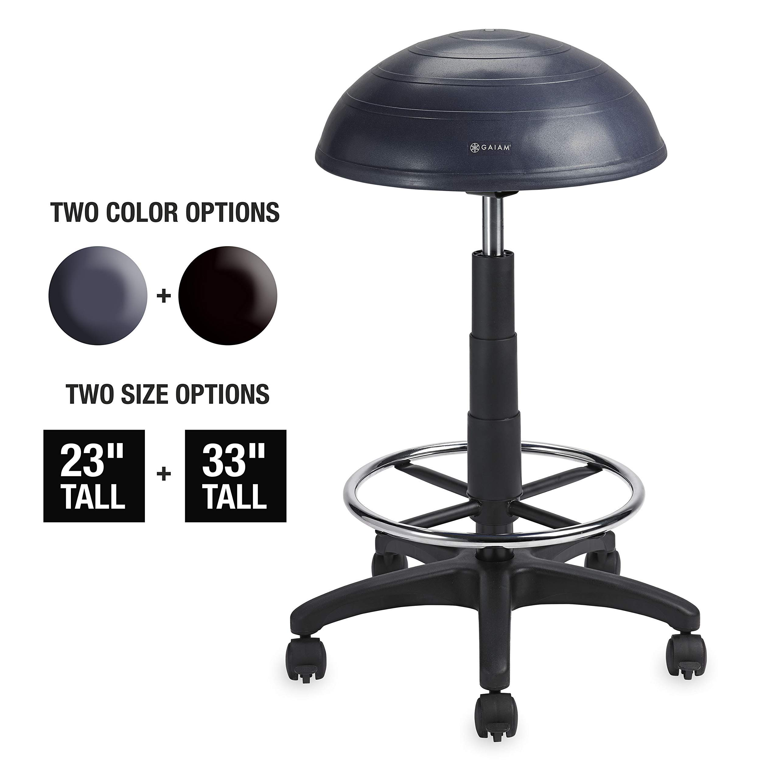 Gaiam Balance Ball Chair Stool, Half-Dome Stability Ball, Adjusts Tall Office Sit Stand Swivel Desk Chair Drafting Stool with Round Foot Rest for Standing Desks Home or Office - Granite 33 (Renewed)