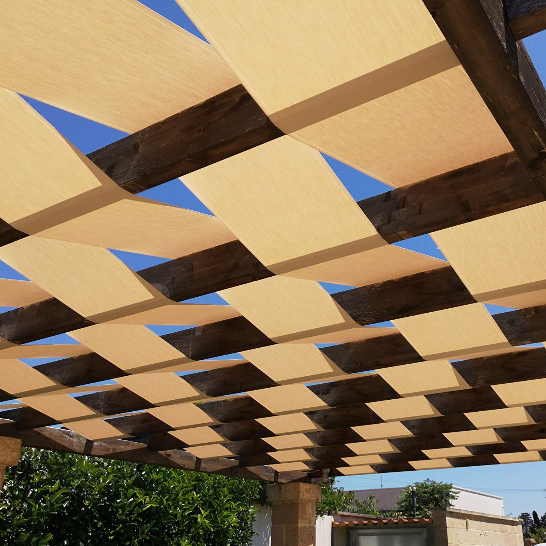 Banda de sombra genérica para pérgola o cenador, estructura con cobertura trenzada o ondulada – 45 cm/60 cm – Blanco o Avana – Una cantidad=1 metro ...