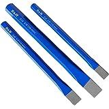 S&R Scalpelli per Meccanico e Muratore. Set 3 scalpelli a freddo piatti a mano 16 X 170, 12 X 150, 10 X 140 mm