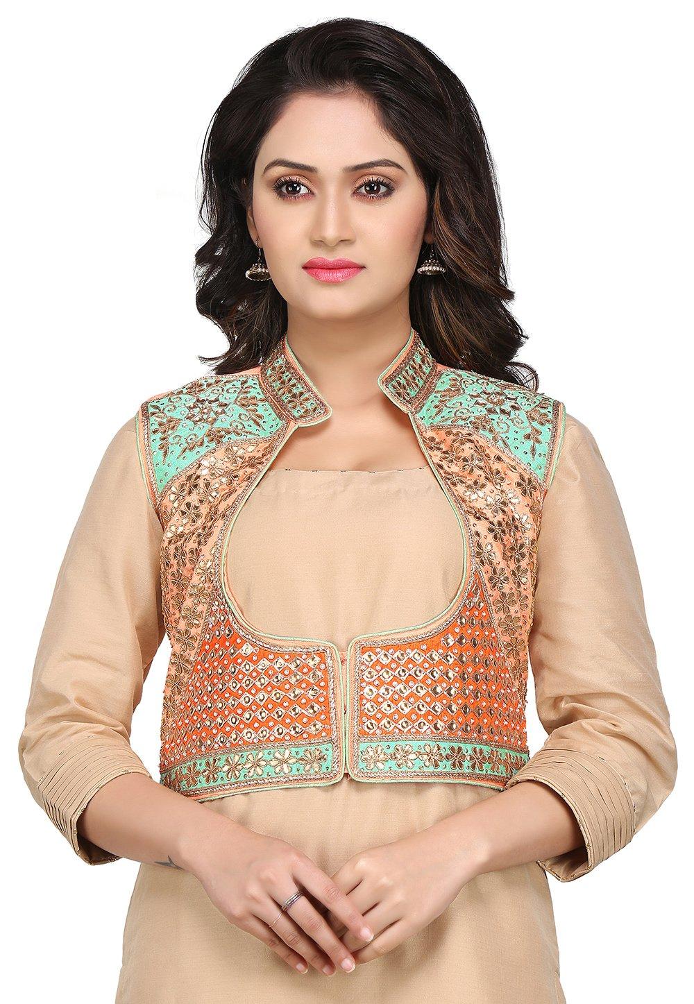 Utsav Fashion Gota Patti Embroidered Dupion Silk Jacket in Multicolor