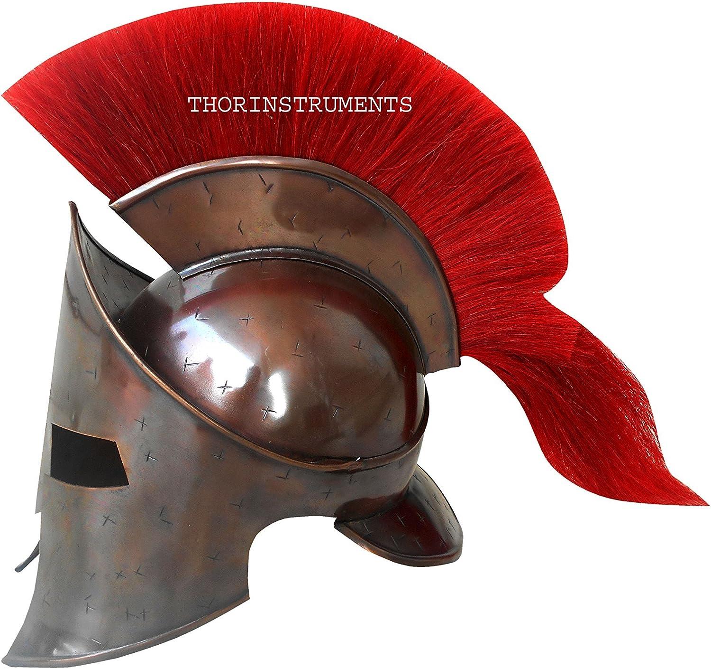 Casque de spartiate grec avec plumeau rouge R/éplique Thor Instruments Casque du roi Leonidas Finition cuivre vieilli