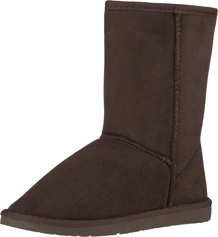 CLOVERLY Women's Winter Snow Boots Vegan Leather Classic Short Mid-Calf Fur Boots
