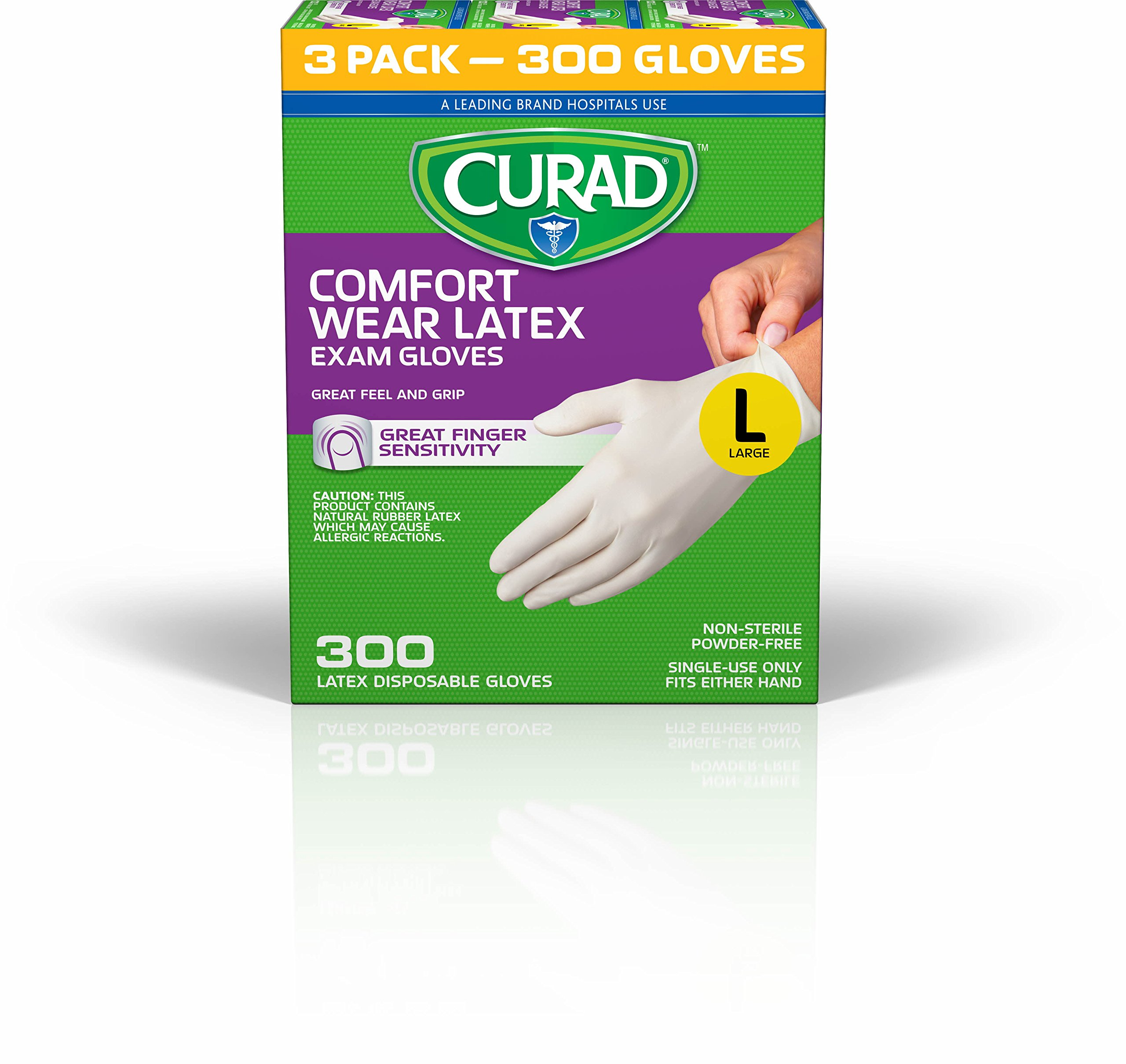 CURAD Comfort Wear Latex, Vinyl Exam Gloves, Large (Pack of 300)