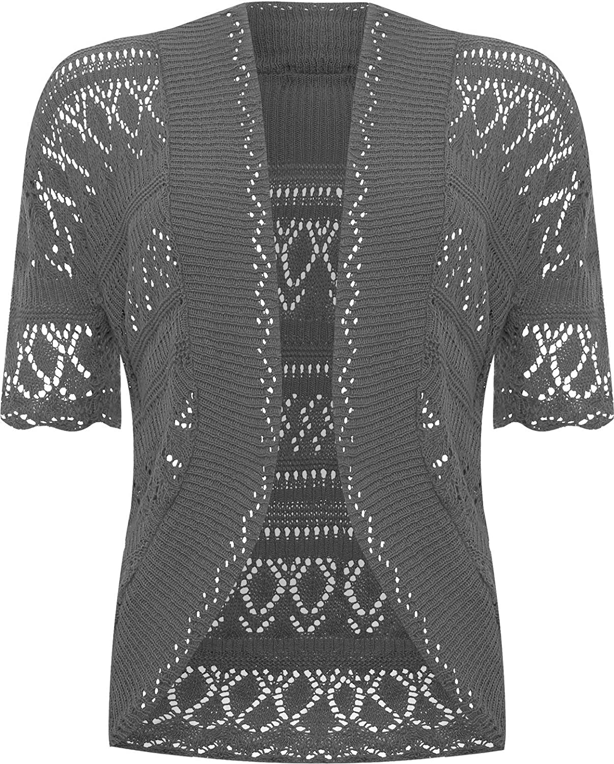 ad5741fd76ae WearAll Womens Plus Size Crochet Knitted Short Sleeve Open Cardigan ...