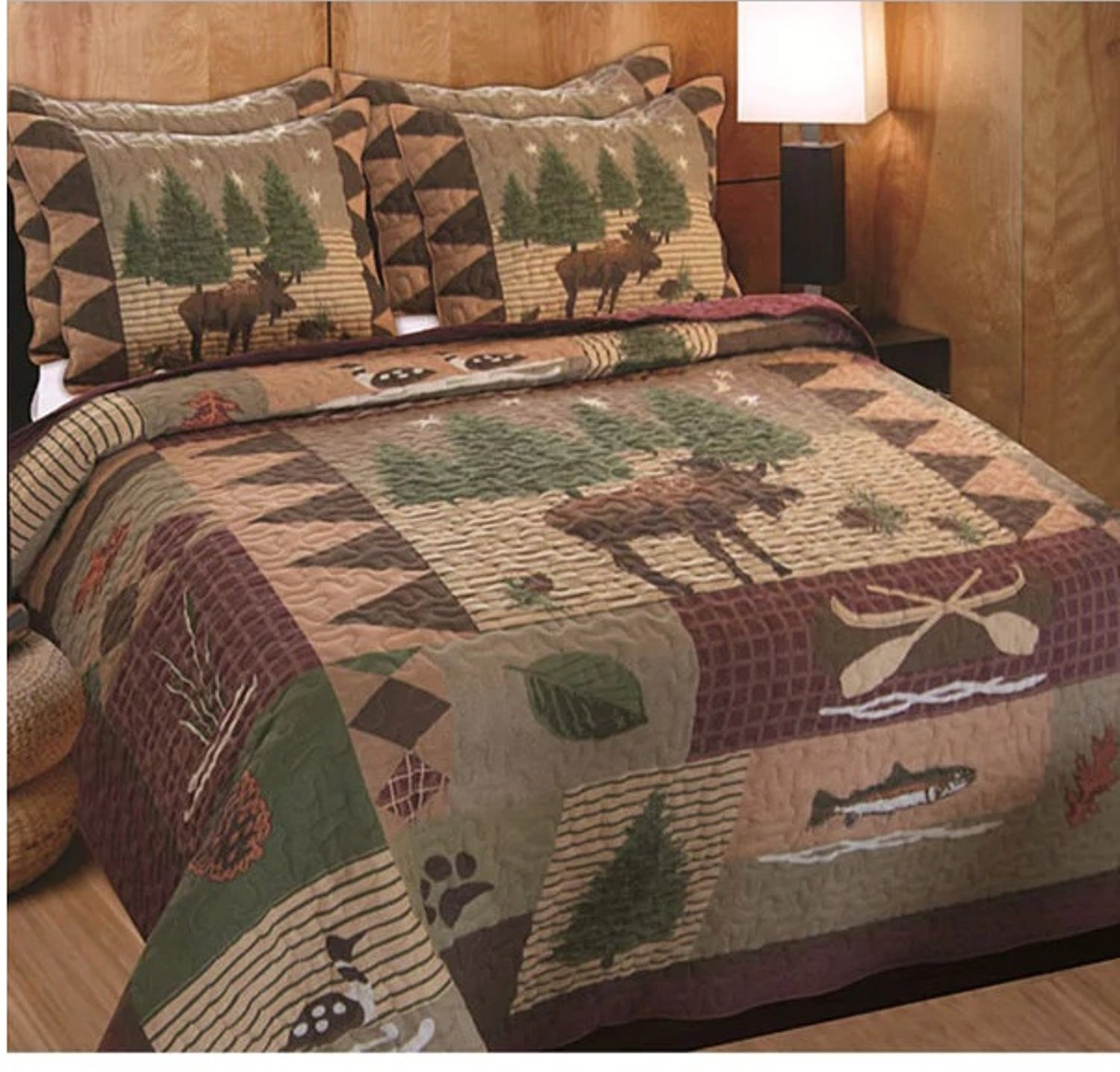3 Piece Patchwork Moose Printed Pattern Quilt Set King Size, Featuring Rustic Tree Fish Duck Design Comfortable Bedding, Contemporary Animal Inspired Bedroom Decoration, Brown, Green, Multicolor