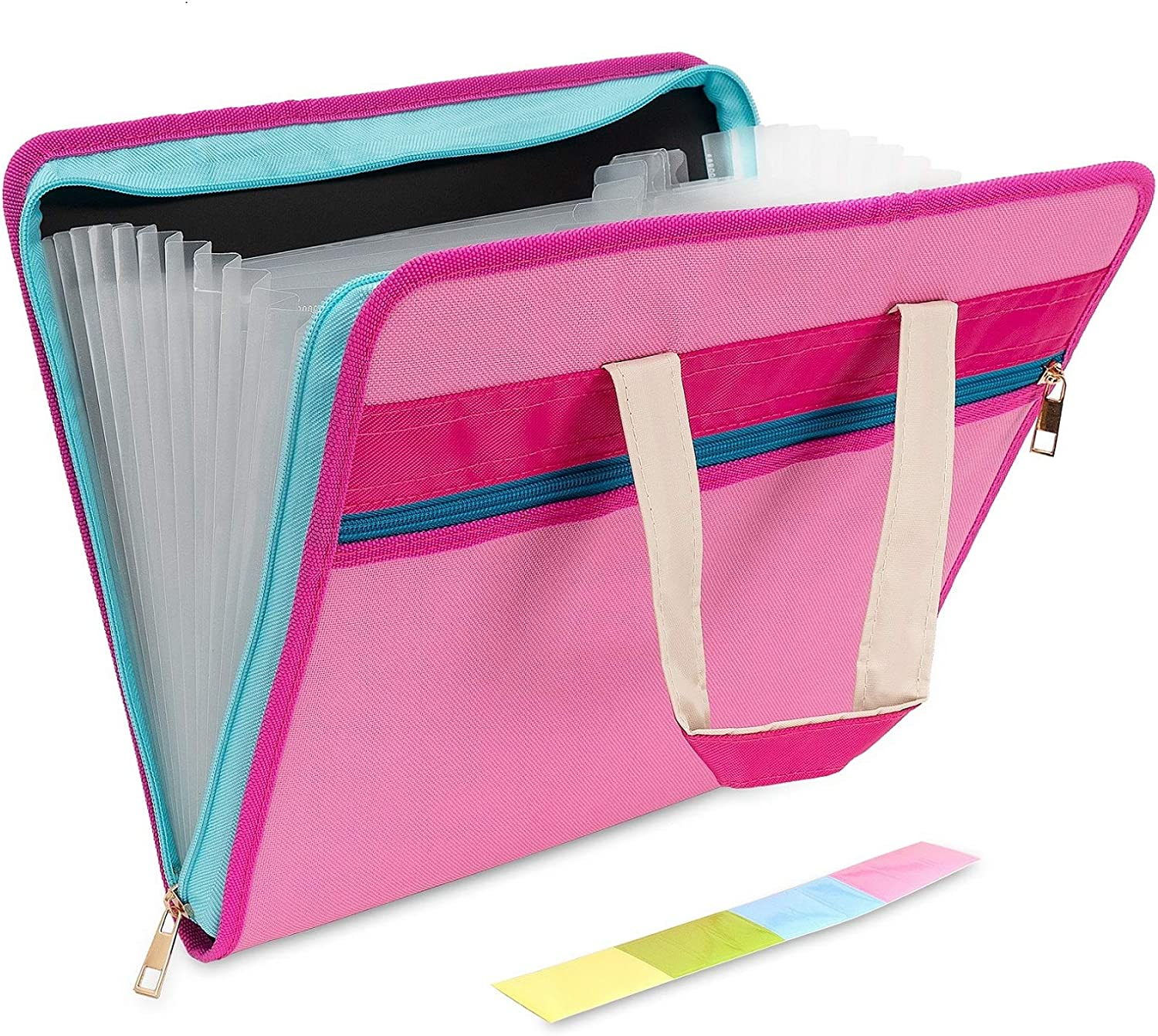 Caosent Portable A4 File Organizer Waterproof Oxford Fabric Zipper Closure Document Organizer with Handle Double Zipper 13+1 Pockets Pink