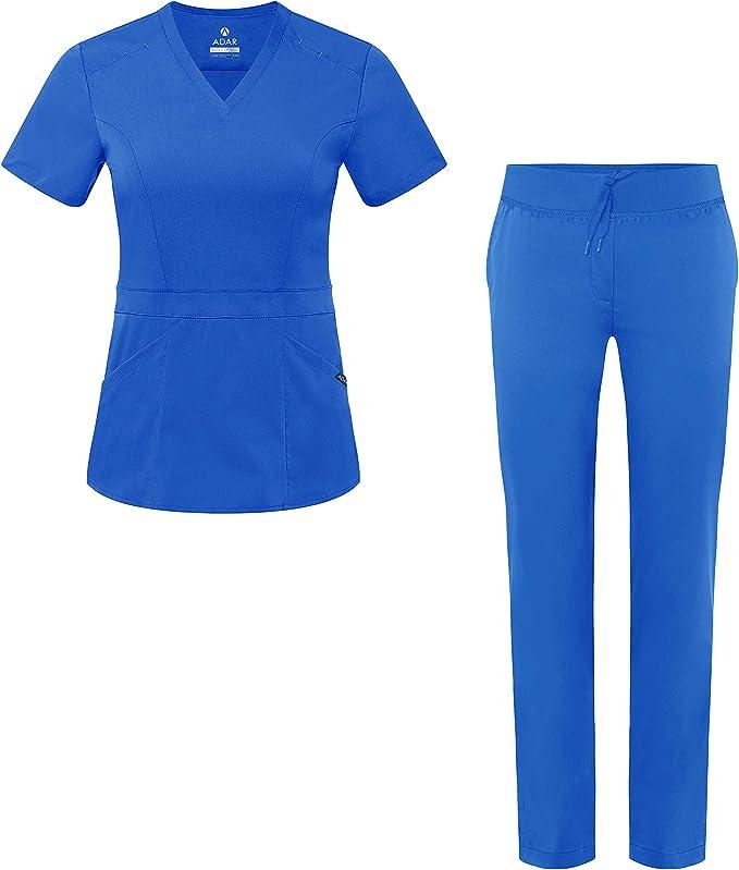 Blouse Crois/ée /& Pantalon Poches Multiples Adar Uniforms Tenue Aide Soignante