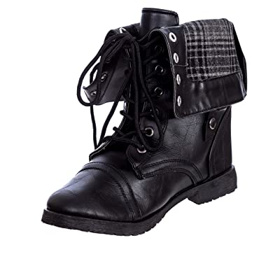 Charles Albert Women's Fold-Over Cuff Combat Boot | Shoes