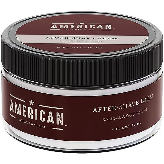 American Shaving After Shave Balm For Men (4oz) - Sandalwood Barbershop Scent - 100% Natural Moisturizing Aftershave Lotion - Best Aftershave For Men to Soothe Dry Sensitive Skin Post Shave