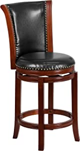 Flash Furniture 26'' High Dark Chestnut Wood Counter Height Stool with Panel Back and Black Leather Swivel Seat