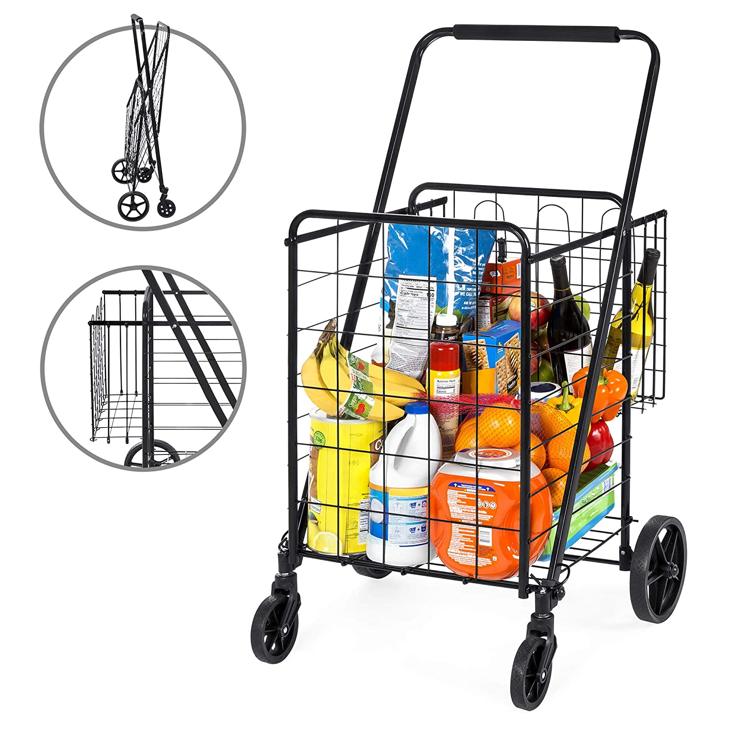 Best Choice Products 24.5×21.5in Portable Folding Multipurpose Steel Storage Utility Cart Dolly for Shopping, Groceries, Laundry w Bonus Basket, Swivel Double Front Wheels, Black