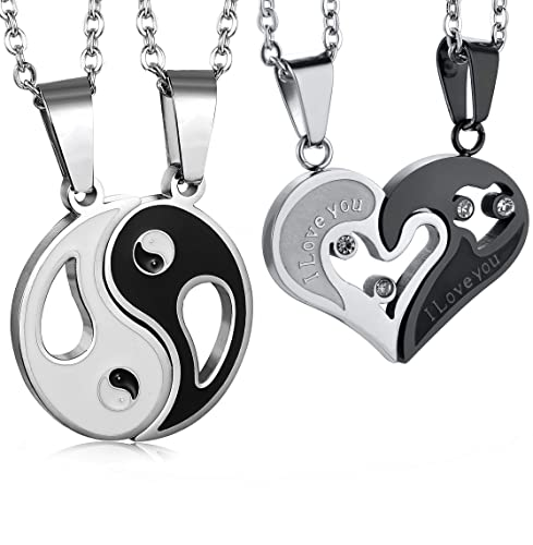 6017c87674 Image Unavailable. Image not available for. Color: LOLIAS Stainless Steel  Yin Yang Love Heart Pendant Couple Necklace ...