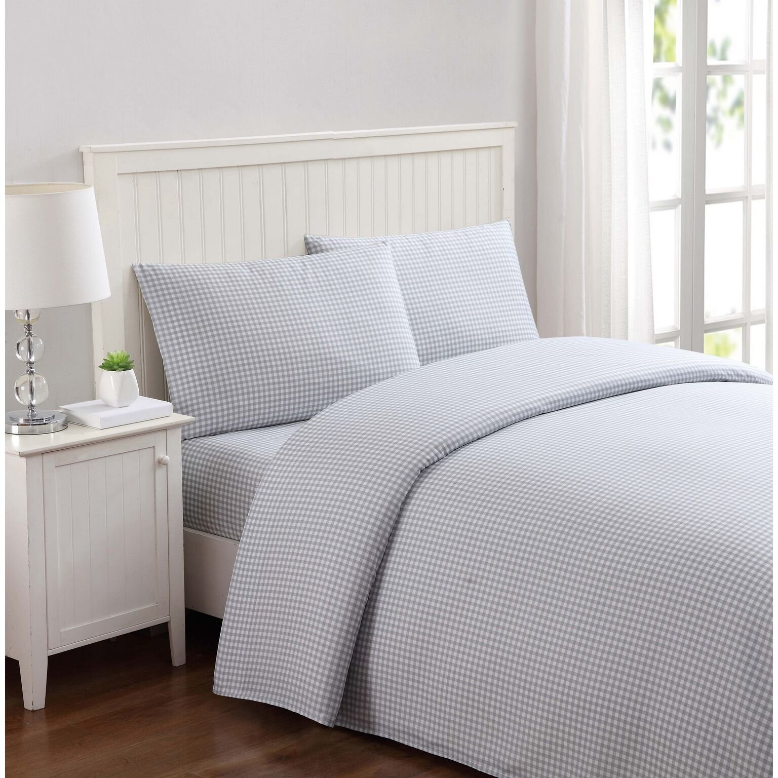 Truly Soft Everyday Printed Gingham 3 Piece Twin Sheet Set in Grey
