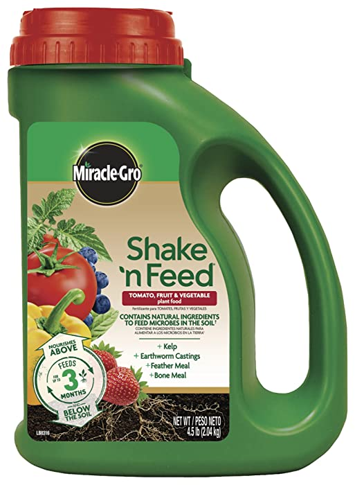 Miracle-Gro Continuous Release Plant Food Plus Calcium 3002610 Shake 'N Feed Tomato, Fruits and Vegetables Contin, 4.5 LB, Brown/A