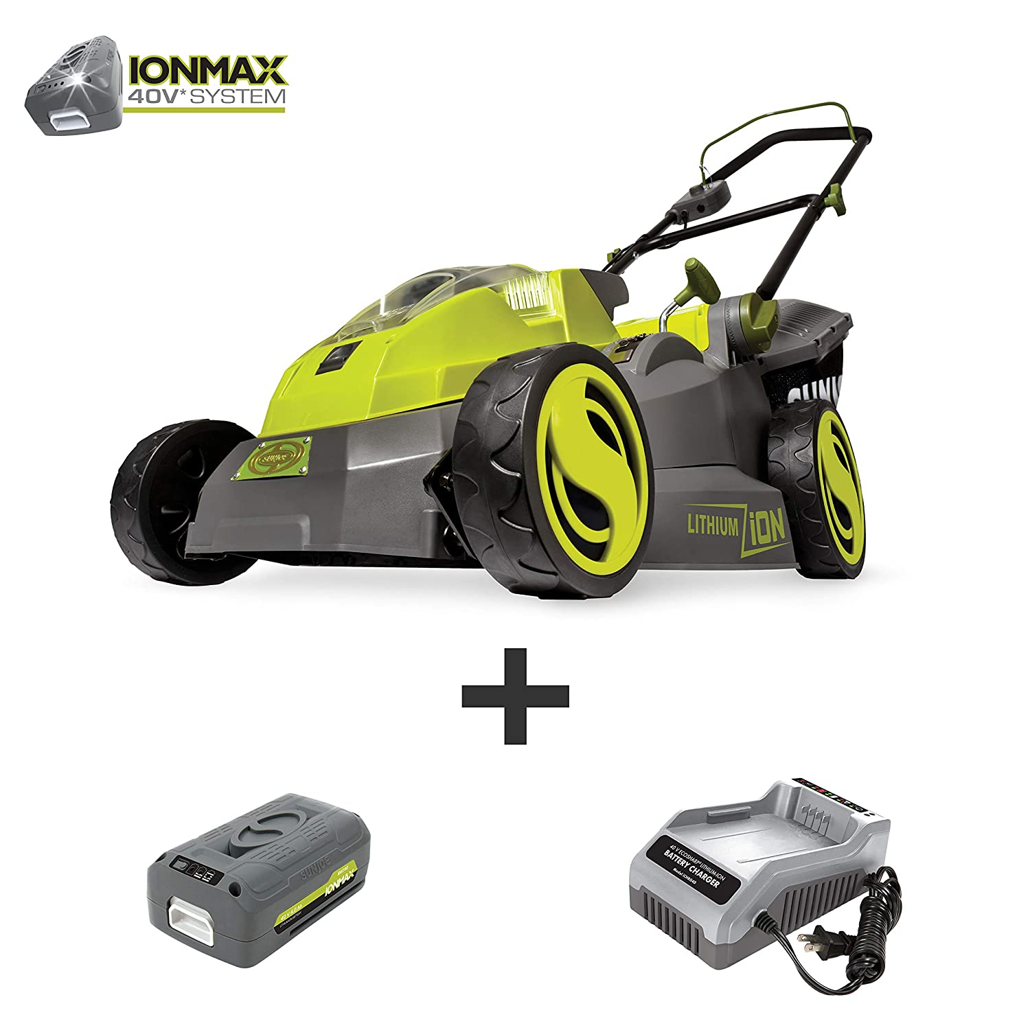 Sun Joe iON16LM 40-Volt 16-Inch Brushless Cordless Lawn Mower, Kit w 4.0-Ah Battery Quick Charger