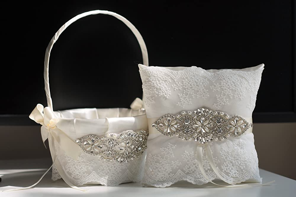 May also be purchased individually Eggplant Wedding Bridal Flower Girl Basket /& Ring Bearer Pillow Set on Ivory or White ~ Allison Line ~