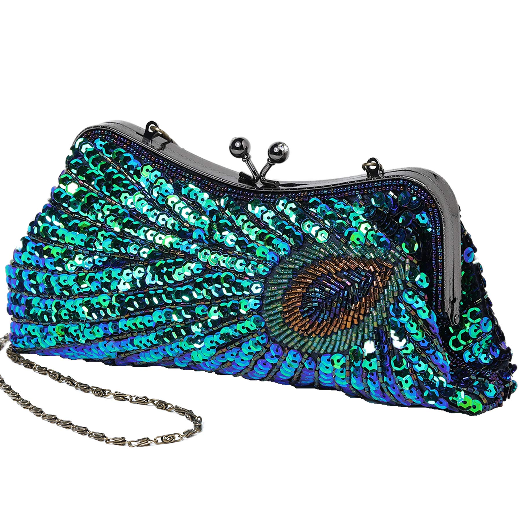 BABEYOND 1920s Flapper Peacock Clutch Gatsby Sequined Handbag Roaring 20s Evening Clutch Beaded Bag 1920s Gatsby Costume Accessories (Style 1)